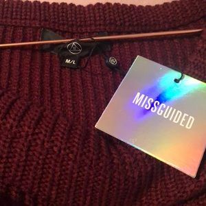Missguided Sweaters - Misguided Burgundy Off The Shoulder Sweater